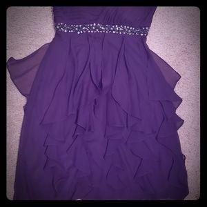 One sleeve short purple dress size 4